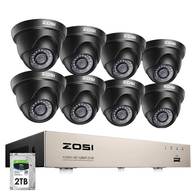 ZOSI 1080p Video Surveillance System 8CH HD TVI 1080P H.265+ CCTV DVR with 8PCS HD 2.0MP In/Outddor Dome Security Cameras Kit