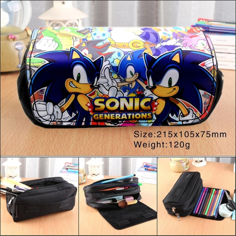 Anime Sonic The Hedgehog Canvas Pencil Case Women Portable Travel Makeupbag Student Penbag Cartoon Zip Cosmetic Bag Stationery