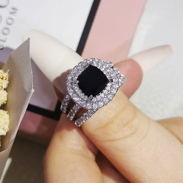 Trendy Luxury Big 925 Sterling Silver Engagement Ring For Women And Ladys Christmas Gifts With Cushion Zirconia Wedding R4898 4