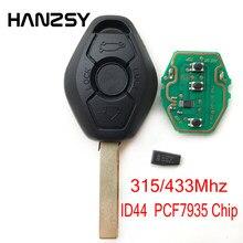 3 botão chave remota do carro para bmw x3 x5 z3 z4 1/3/5/7 série ews sistema pcf7935 chip id44 com 433 mhz ou 315 mhz & hu92 lâmina