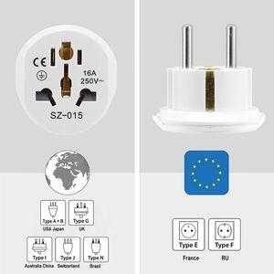 Image 5 - Universal EU Stecker Konverter EU Adapter 2 Runde Pin Buchse AU US UK CN Zu EU Steckdose AC 16A 250V Reise Adapter Hohe Qualität