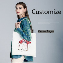 Customization women bag Shoulder Bags Flamingo Shopping Bag Tote Package Purses Casual animal printing For young girl 42cm*40cm(China)