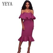 YEYA New Arrival Summer Sexy Off Shoulder Lady Bandage Dress Vestidos Ruffles Slash Neck Club Formal Celebrity Party