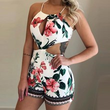 2019 Women Floral Print Halter Romper Holiday Skinny Hollow Out Palysuit Beach Casual Sleeveless Overalls black floral print drawstring sleeveless romper