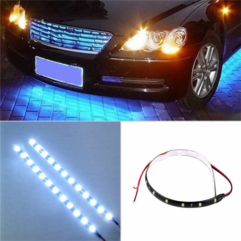 12V 8W Car Motorcycle 15 LED Waterproof Strip Lamp Flexible Light Super Brightness Safety Warning Accessories Auto Product
