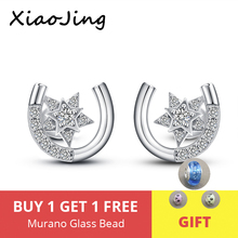 XiaoJing new collection U shape stud earrings with Clear CZ 925 sterling silver simple star earring for women fashion gifts
