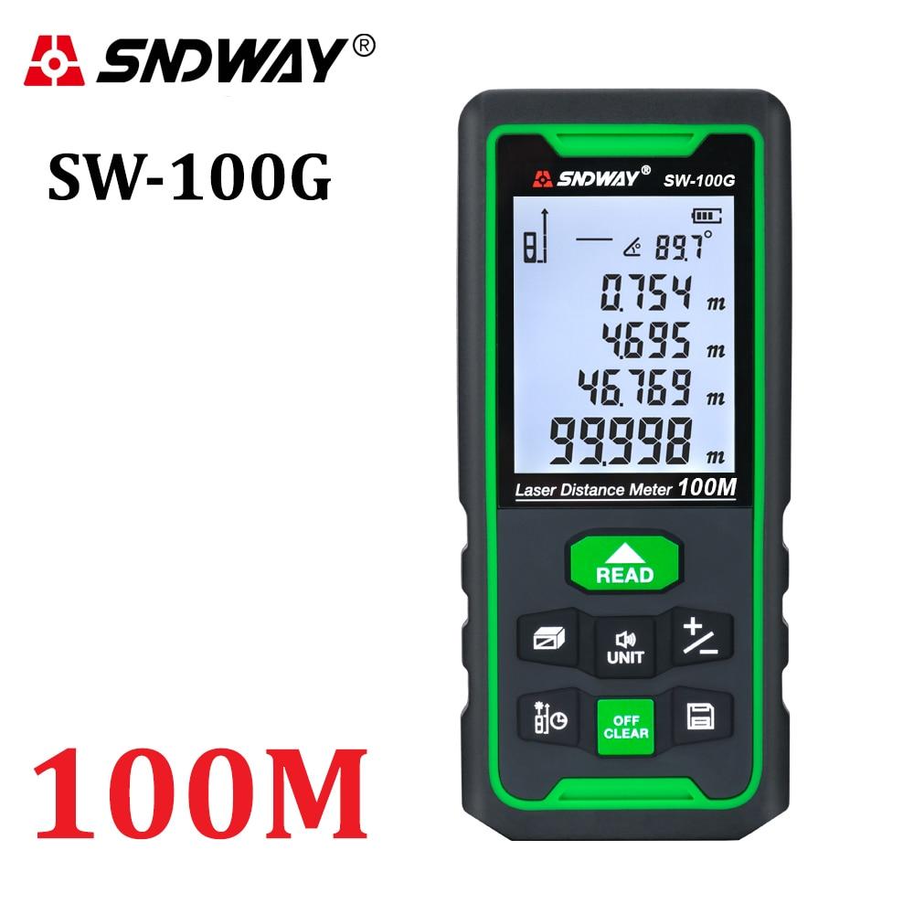 SNDWAY Laser Distance Meter Green Rangefinder 100m 70m 50m Range Finder Trena Tape Measure Electronic Level Ruler Roulette Tool