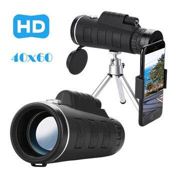 40X60 Zoom óptico HD lente Monocular + trípode + Universal teléfono Clip Super ocular HD óptico verde película transparente, más brillante WBD