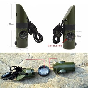 Outdoor Camping Emergency Whistle 7-in-1 Multi-function Compass Led Thermometer High Decibel Whistle Tinder Magnifier