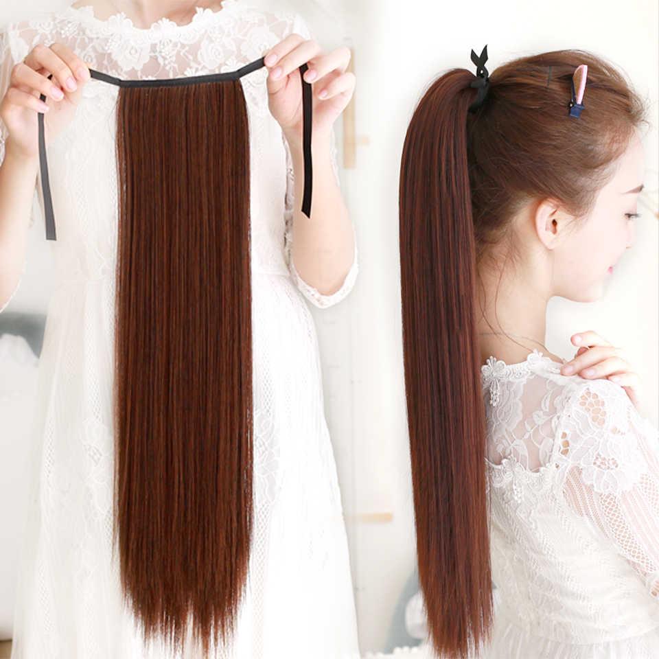 Super longo grampo em linha reta na cauda do cabelo sintético rabo de cavalo hairpiece com hairpins sintético pônei cauda extensões de cabelo