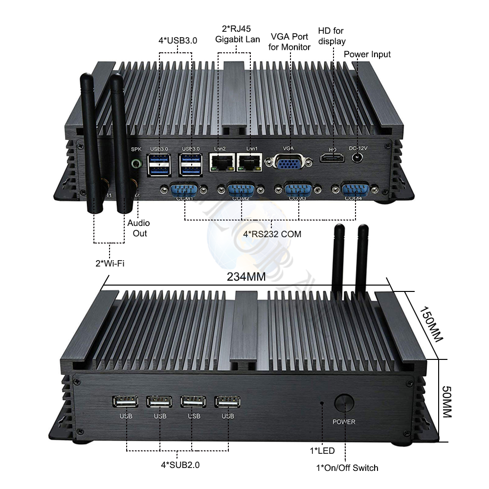 Fanless Industrial Mini PC with HDMI and VGA Dual Display Supports Linux Windows 7/8/10 for Office and Personal Use 12