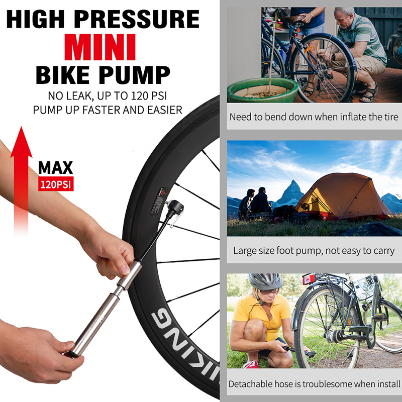 WEST BIKING Mini Bicycle Pump 100PSI Portable Tire Air Inflator with Hose N#S7
