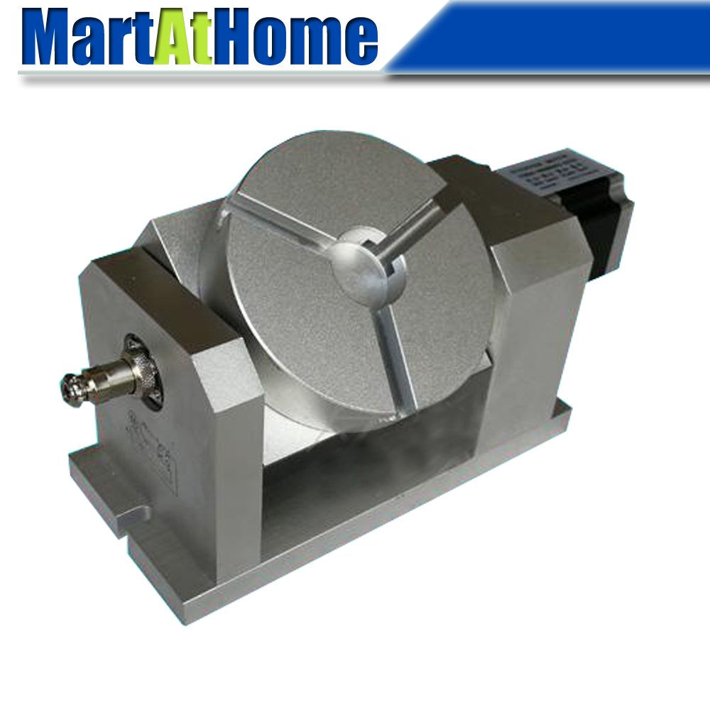 CRA902 CNC Router Machine Rotary Indexer Table 4th & 5th Rotational Axis with Chuck & 57 2-Phase Stepper Motor, Harmonic Gearbox