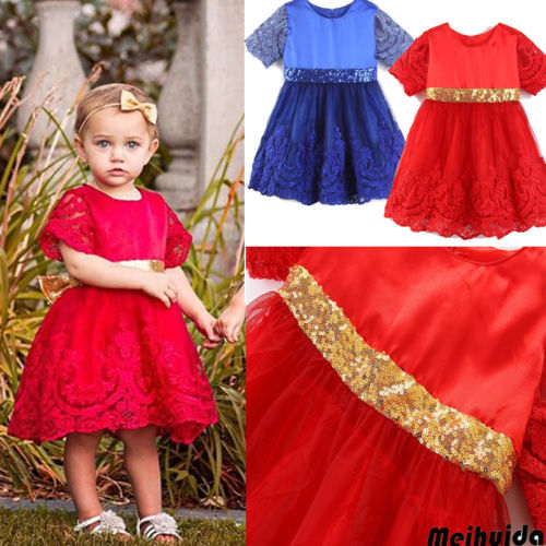 US Toddler Kids Baby Girl Lace Princess Party Pageant Tulle Tutu Dress Sundress