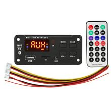 5V 12V Mp3 Wireless 5 0 Dashboard samochodowy sprzęt Audio moduł Usb Fm Tf Radio Aux nagrywanie wsparcie wejście samochodowy sprzęt Audio dekoder Audio tanie tanio Weigav 0 05kg 92 * 41 * 21MM Black