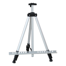 1.6m Silver Outdoors Aluminium Alloy Folding Painting Easel Frame Adjustable Tripod Display Shelf And Carry Bag