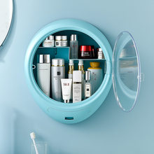 Creative non-porous wall-mounted cosmetic storage box 18L with cover and division dust-proof skin care product storage box