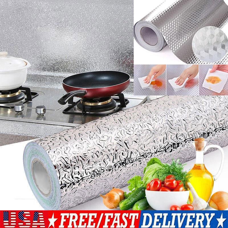 Waterproof Foil Decals Oil proof Stickers Decor Kitchen Cupboard Wall 45*100CM