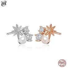 цена на Real 925 Sterling Silver Earrings Elegant Polaris Pearl Zircon Stud Earrings for Women Fashion Jewelry Gift