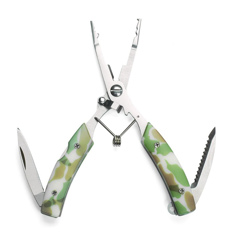 Multi-functional Stainless Steel Pliers Camouflage Color With Knife Fish Tongs Open Double Ring Shear Line Pressure Lead Fishing