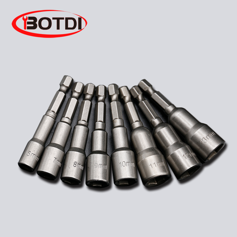 1SET Magnetic Impact Nut Driver Socket Set Metric 6mm~15mm Impact Grade Nut Setters 6.35mm Hex Shank Drill Bit Adapter