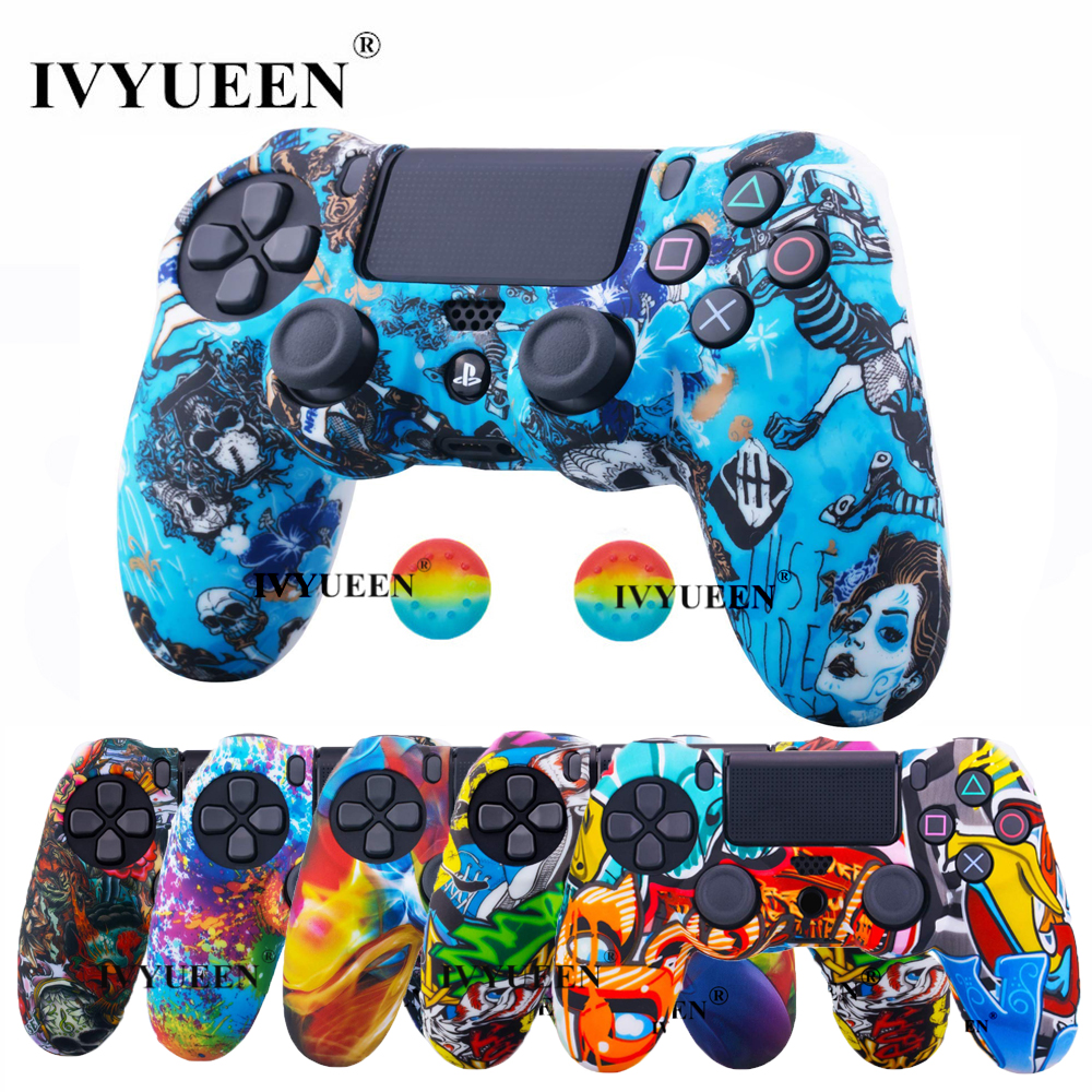 IVYUEEN For Sony Dualshock 4 <font><b>PS4</b></font> DS4 Slim Pro <font><b>Controller</b></font> Silicone Camo <font><b>Case</b></font> Protective Skin + Thumb Grip Caps for PlayStation 4 image