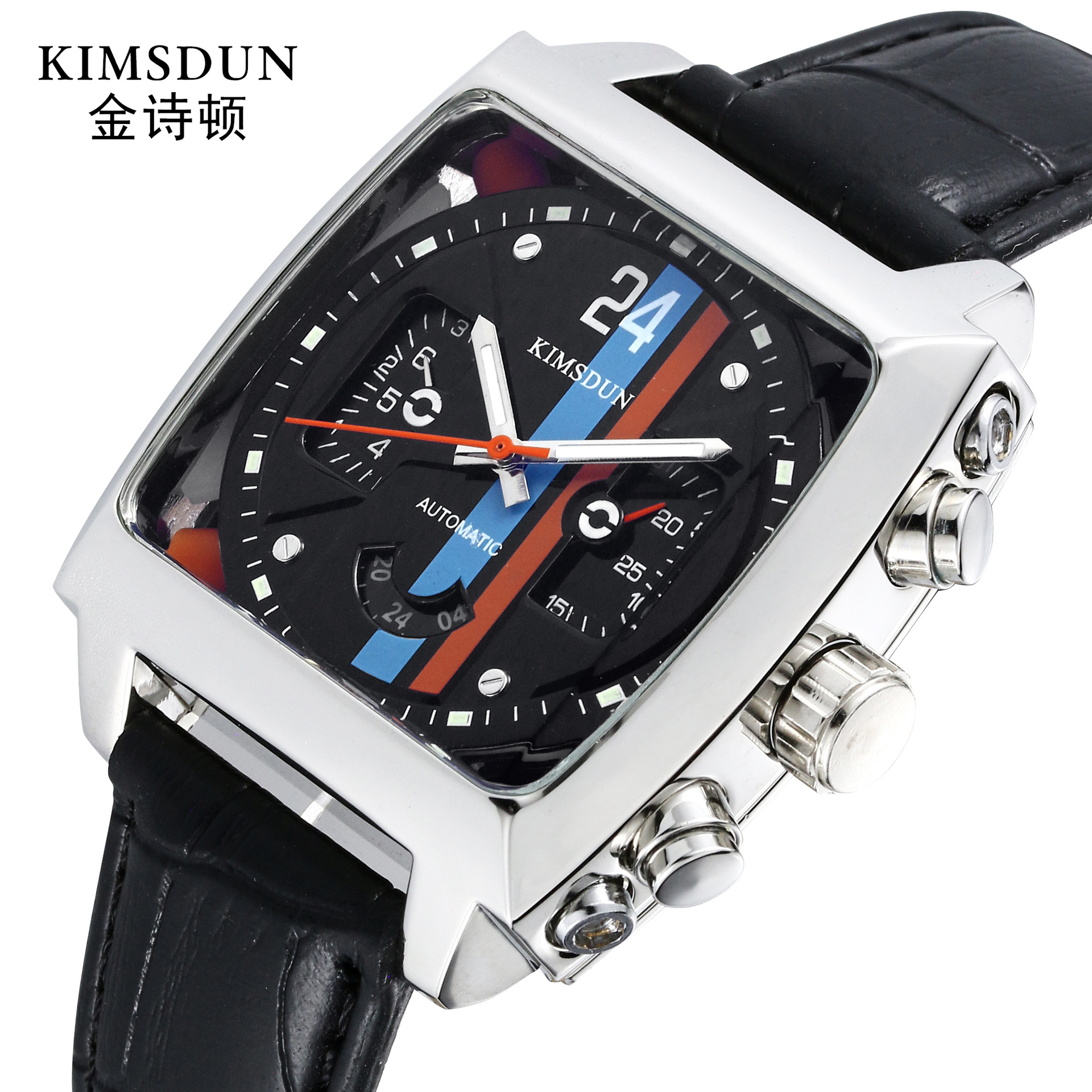 Authentic Style Square Belt Men's Watch Leisure Sports Waterproof Automatic Mechanical Watch Gifts For Men Week Display