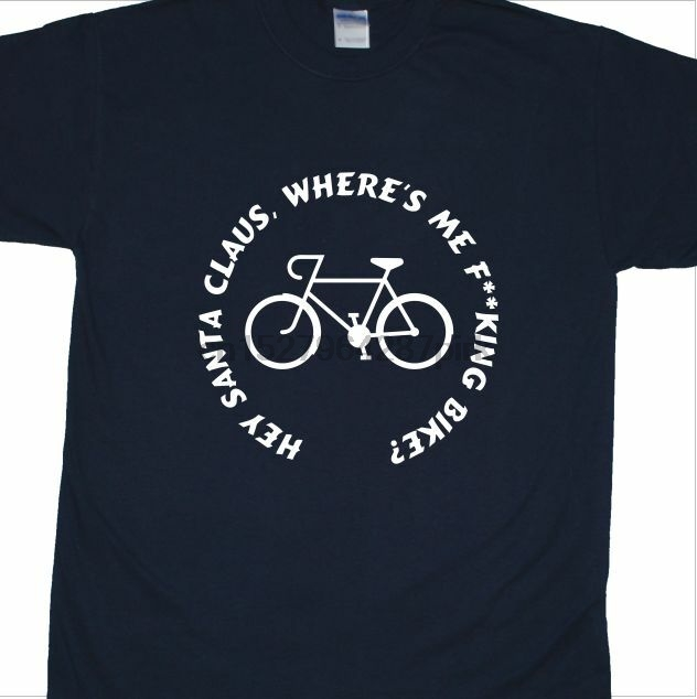 'Santa Claus Where's Me Bike' T-shirt Inspired by Roy Brown (Chubby Velo)