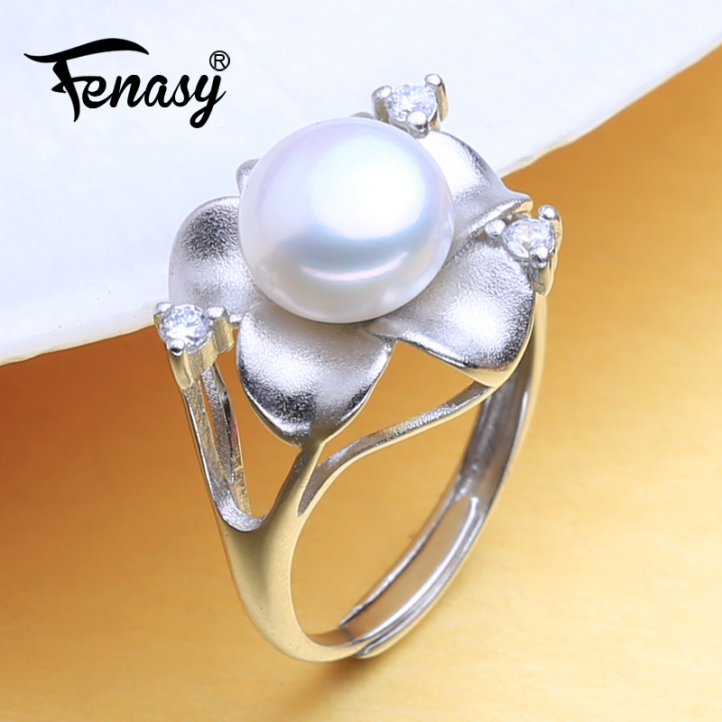 FENASY Natural Freshwater Pearl Rings For Women 925 Sterling Silver Bohemian Flower Female Ring Fine Jewelry