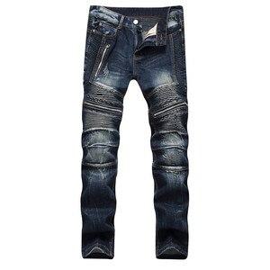 2020 AUTUMN Spring Men's Ripped Street HIP HOP Punk Stretch Bike Jeans Trendy Holes Straight Denim Trouers