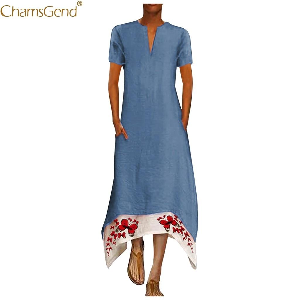 Summer Short Sleeve Lrregular Beach Dresses And Tunics Plus Size Casual Print  Hem Print V-Neck Maxi Dresses For Women Jul
