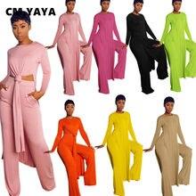 CM.YAYA-Conjunto de Pantalón liso clásico para mujer, camiseta de manga larga con abertura larga y Pantalón recto, chándal de Fitness, conjunto de dos piezas