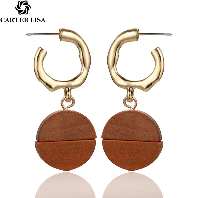 CARTER LISA Hot 1Pair Gold Geometry Round Wood Pandent Drop Earring Hanging Earrings Fashion Simple Jewelry Charms Pendientes