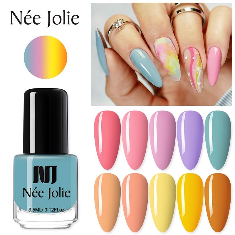 NEE JOLIE 2Pcs Nail Polish Set Sparkling Varnishes Long Lasting Nail Art Oil Liquid Manicures DIY Design Decoration