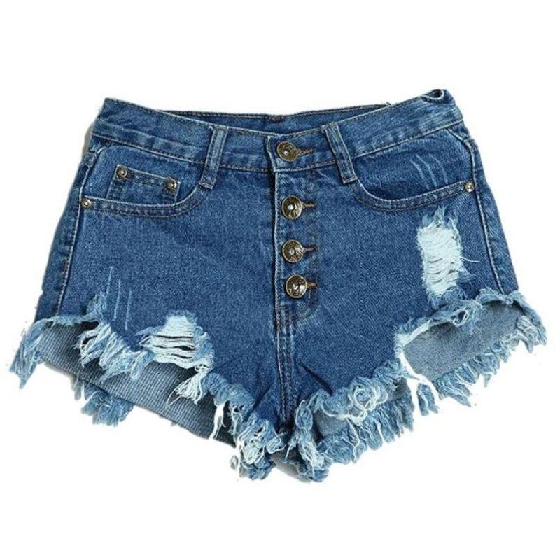2017 Summer Sexy Women's Irregular High Waisted Shorts Slim Fit Denim Jeans Shorts Worn Loose Burr Hole Jeans Femme 7644
