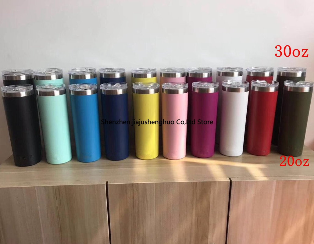 <font><b>20oz</b></font> 30oz Tumbler Double Wall Stainless Steel Vacuum Tumbler Vacuum Insulated Straight Cups Flask Beer Coffee <font><b>Mugs</b></font> image