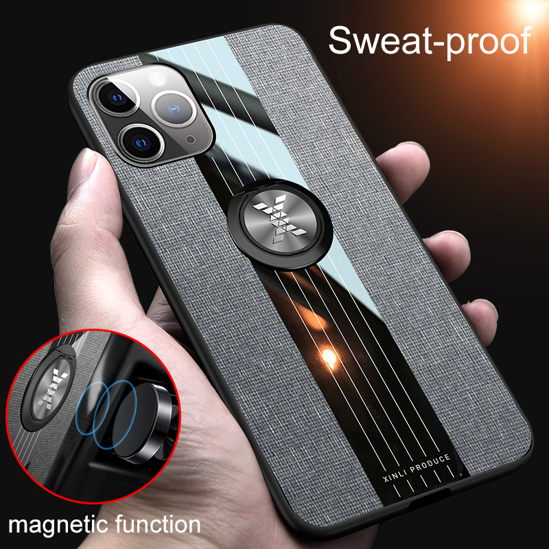 Galleria fotografica Ultra-thin Stitching Cloth Phone Case For iPhone 11 Pro XS Max XR X 8 7 6s 6 Plus Luxury Magnetic Bracket Fabric Silicone Cover