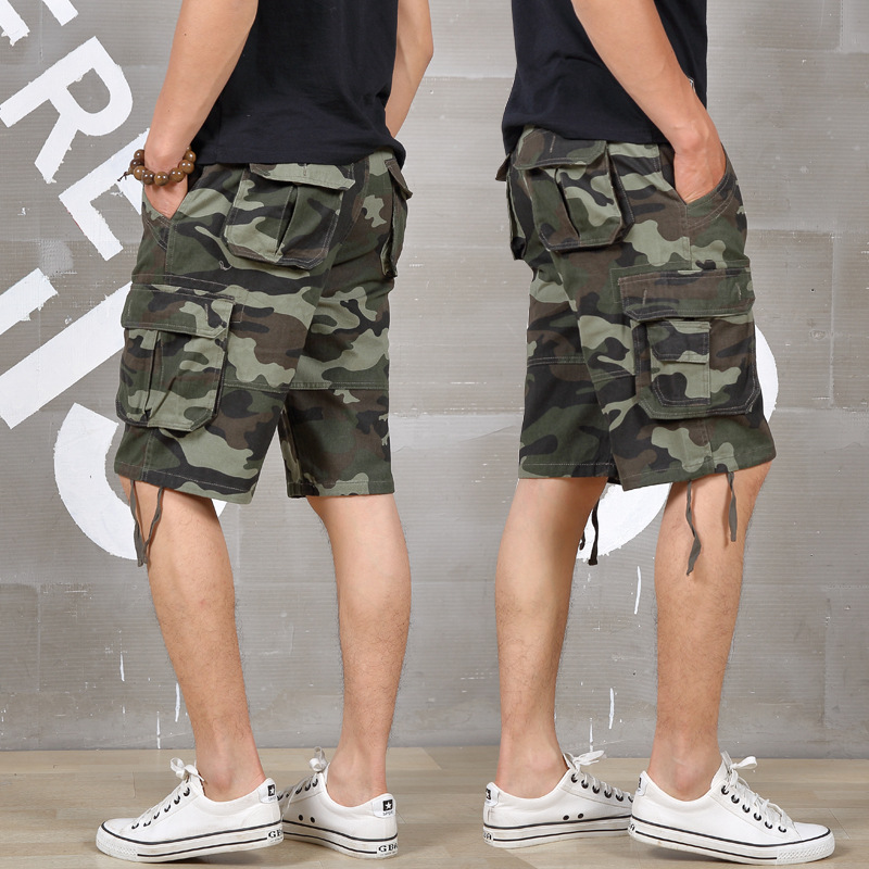Summer Men Cargo Shorts Baggy Multi Pocket Military Camo Shorts Loose Hot Breeches Male Long Camouflage Bermuda Capris Plus Size