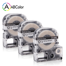 3PK 12mm Black on Clear ST12KW Label Tape LC-4TBN Tape For Epson King Jim Label Maker LW-300 LW-400 LW-500 LW-600P LW-700 цена 2017