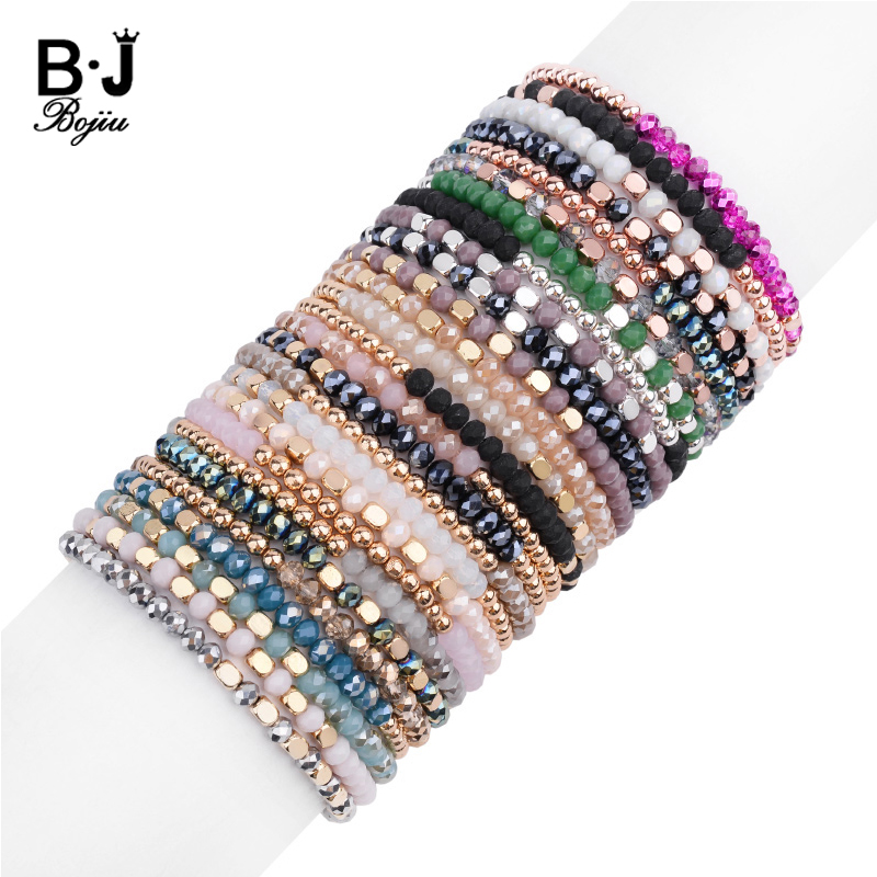 27 Color Elastic Women Bracelets Small Rose Gold Silvery Square Acrylic Round Hematite Faceted Crystal Beads Bracelet Lady BC324