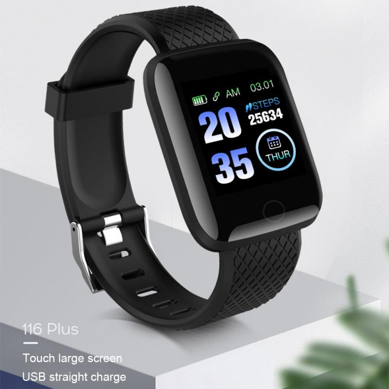 116 PLUS Smart Bracelet Color Screen Waterproof Heart Rate Blood Pressure Monitoring Track Movement Health Pedometers Band