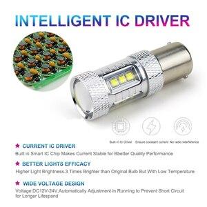 Image 4 - 2x High Power S25 1156 BA15S P21W 30W 50W 80W CREE Chip XBD LED Car Reverse Bulbs Backup Reverse Lamp Light White/Red/Yellow