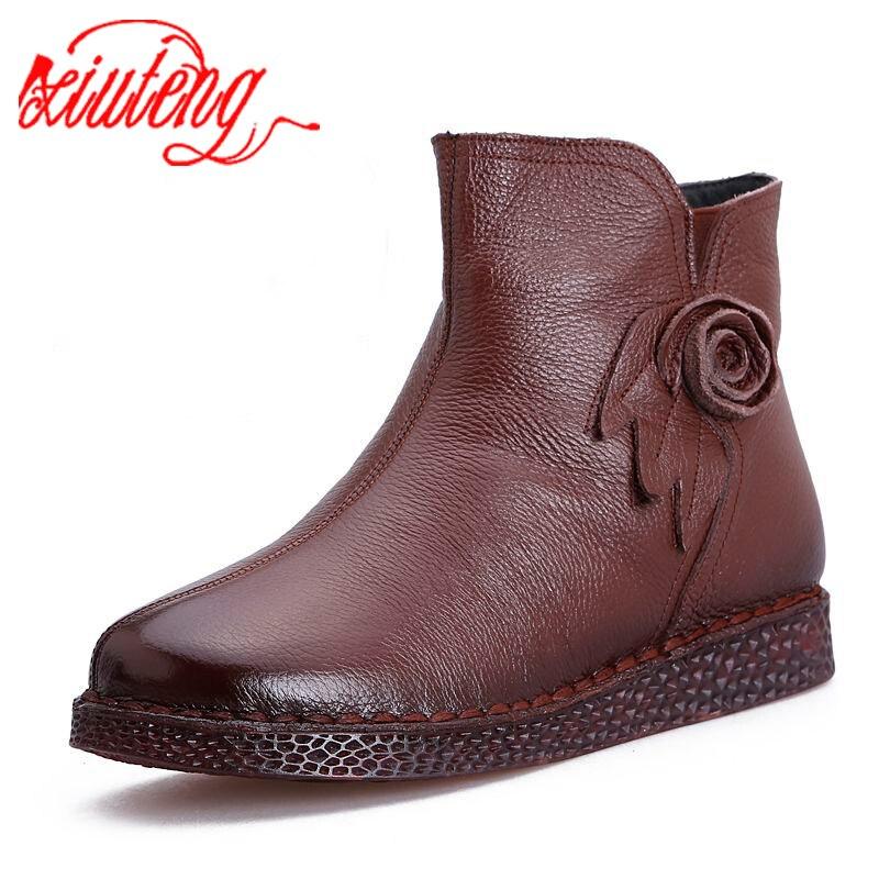 Xiuteng/женские зимние ботинки; Зимние ботильоны на Плоском Каблуке; Женская теплая обувь на платформе; Кожаные ботинки на толстом меху с цветком; 2020|Полусапожки|   | АлиЭкспресс