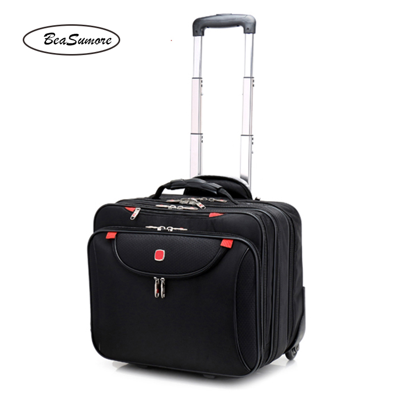 BeaSumore Fashion Multifunction Rolling Luggage 18 Inch Carry Ons Computer Trolley Men Business Travel Bag Women Suitcase Trunk