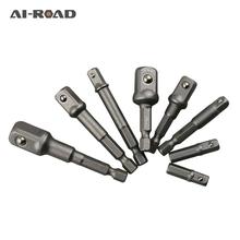 8 sztuk Socket Adapte zestaw bitów Hex wiertarka śrubokręt nasadkowy Power Shank 1 4 #8222 3 8 #8221 1 2 #8222 korbowód głowy wiertło przedłużające bity narzędzia tanie tanio AI-ROAD Maszyny do obróbki drewna Inne 1 4 quot 3 8 quot 1 2 quot Wiercenia drewna 8Pcs Socket Adapter Bits High speed steel