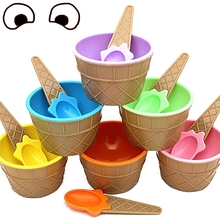 news 1set kids ice cream bowl spoon set durable children gifts lovely dessert bowl diy ice cream tools icecream bowl and spoon AA Candy Color Ice Cream Bowl & Spoon Sets Durable Plastic Dessert Bowl Yougurt Cup Summer Festive Party Favors