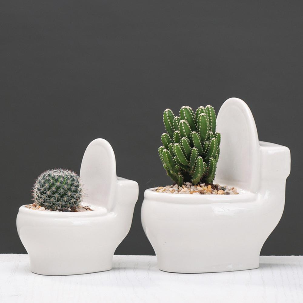 White Ceramic Toilet Flower Pot Creative DIY Design Planter For Succulents Plants Gardening Small Flowerpot Home Office Decor