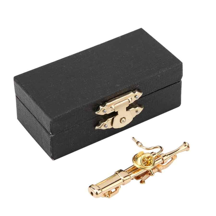 Gold Plating Koper Fagot Muziekinstrument Fagot Broche Pin met Geschenkdoos woondecoratie