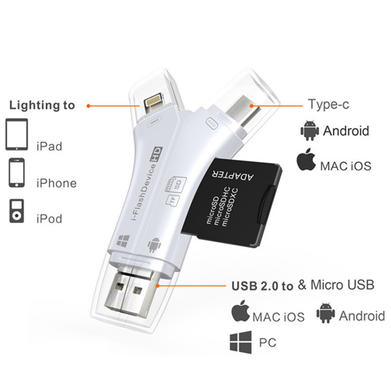 4 In 1 USB Type-C Micro USB Lighting Card Reader OTG Card Reader For Micro SD&TF Card SD Card For Iphone Android