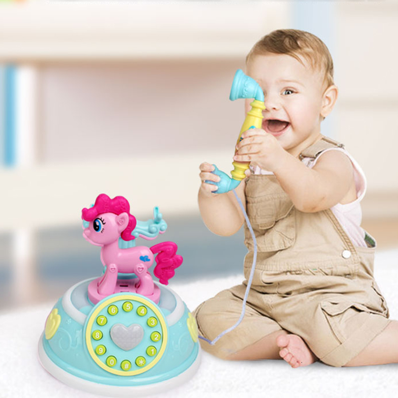 Retro Children Horse Pony Phone Toy Early Education Story Machine Baby My Little Phone Emulated Telephone Musical Toy For Kid
